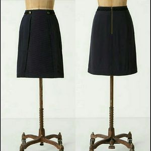 Anthropologie Navy Pencil Skirt with Pockets